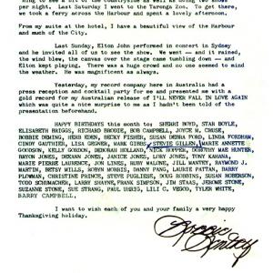 Fanclub Letter, 1971