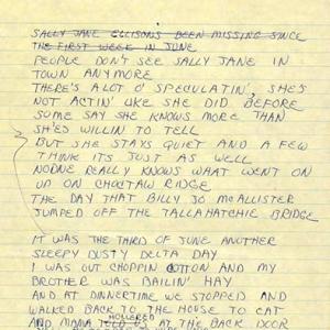 Ode-To-Bille-Joe-original-song-lyrics-showing-cut-first-verse